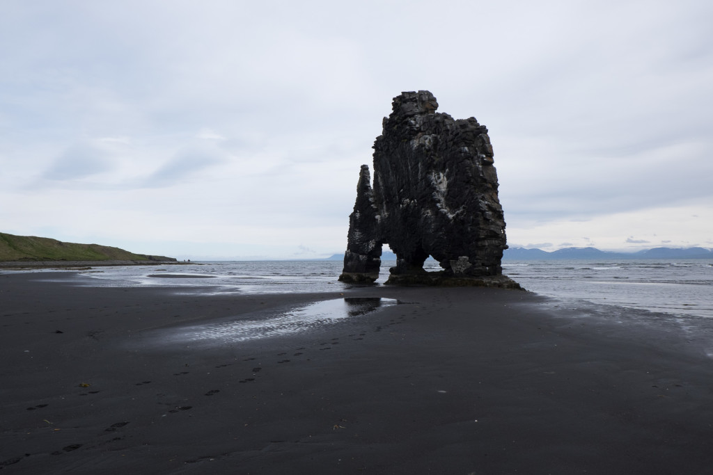 Photo 6. Hvitserkur dike, left standing. This was once a fissure in the ground that had filled in with lava rock.